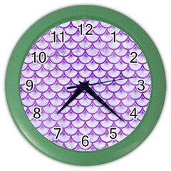 Scales3 White Marble & Purple Watercolor (r) Color Wall Clocks by trendistuff