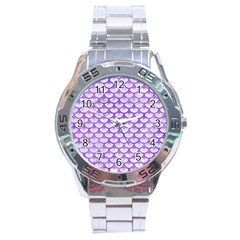 Scales3 White Marble & Purple Watercolor (r) Stainless Steel Analogue Watch by trendistuff