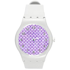 Scales3 White Marble & Purple Watercolor (r) Round Plastic Sport Watch (m) by trendistuff
