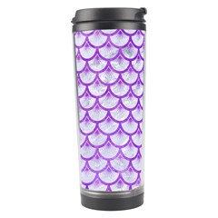Scales3 White Marble & Purple Watercolor (r) Travel Tumbler by trendistuff