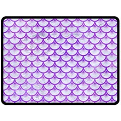 Scales3 White Marble & Purple Watercolor (r) Double Sided Fleece Blanket (large)  by trendistuff