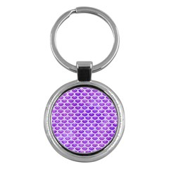 Scales3 White Marble & Purple Watercolor Key Chains (round)  by trendistuff