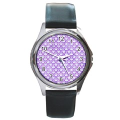Scales2 White Marble & Purple Watercolor (r) Round Metal Watch by trendistuff