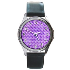 Scales2 White Marble & Purple Watercolor Round Metal Watch by trendistuff