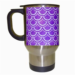 Scales2 White Marble & Purple Watercolor Travel Mugs (white) by trendistuff