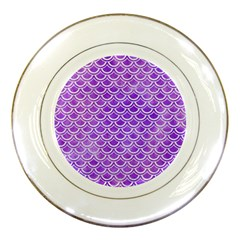Scales2 White Marble & Purple Watercolor Porcelain Plates by trendistuff