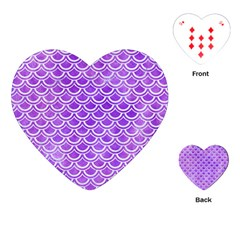 Scales2 White Marble & Purple Watercolor Playing Cards (heart)  by trendistuff