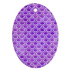 Scales2 White Marble & Purple Watercolor Oval Ornament (two Sides) by trendistuff