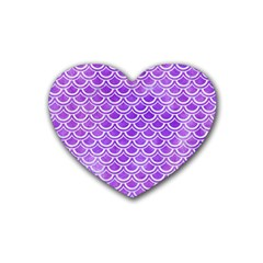 Scales2 White Marble & Purple Watercolor Heart Coaster (4 Pack)  by trendistuff