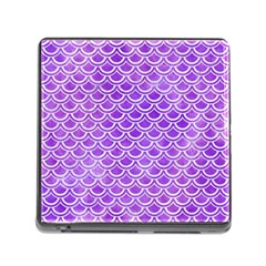 Scales2 White Marble & Purple Watercolor Memory Card Reader (square) by trendistuff