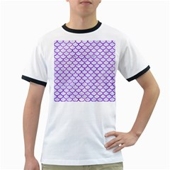 Scales1 White Marble & Purple Watercolor (r) Ringer T Shirts