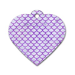 Scales1 White Marble & Purple Watercolor (r) Dog Tag Heart (one Side) by trendistuff