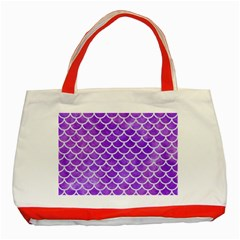 Scales1 White Marble & Purple Watercolor Classic Tote Bag (red) by trendistuff