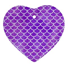 Scales1 White Marble & Purple Watercolor Heart Ornament (two Sides) by trendistuff