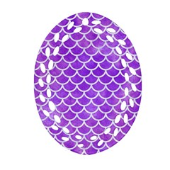 Scales1 White Marble & Purple Watercolor Ornament (oval Filigree) by trendistuff