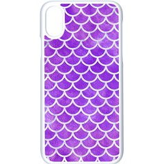 Scales1 White Marble & Purple Watercolor Apple Iphone X Seamless Case (white)
