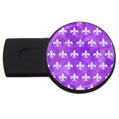 Royal1 White Marble & Purple Watercolor (r) Usb Flash Drive Round (2 Gb) by trendistuff