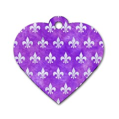 Royal1 White Marble & Purple Watercolor (r) Dog Tag Heart (one Side) by trendistuff