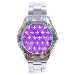 Royal1 White Marble & Purple Watercolor (r) Stainless Steel Analogue Watch by trendistuff