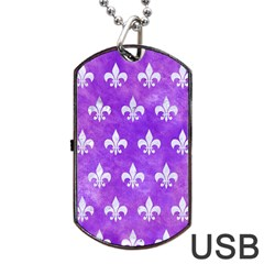 Royal1 White Marble & Purple Watercolor (r) Dog Tag Usb Flash (one Side) by trendistuff