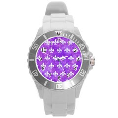 Royal1 White Marble & Purple Watercolor (r) Round Plastic Sport Watch (l) by trendistuff
