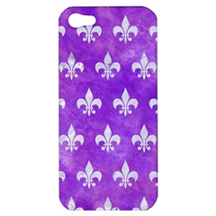 Royal1 White Marble & Purple Watercolor (r) Apple Iphone 5 Hardshell Case by trendistuff