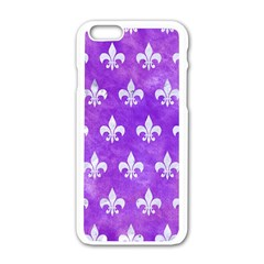 Royal1 White Marble & Purple Watercolor (r) Apple Iphone 6/6s White Enamel Case