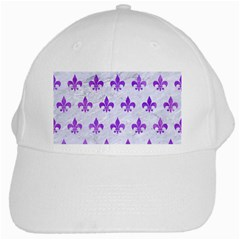 Royal1 White Marble & Purple Watercolor White Cap by trendistuff