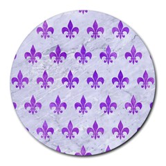 Royal1 White Marble & Purple Watercolor Round Mousepads by trendistuff