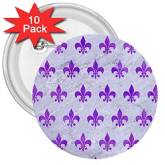 Royal1 White Marble & Purple Watercolor 3  Buttons (10 Pack)  by trendistuff