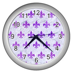 Royal1 White Marble & Purple Watercolor Wall Clocks (silver)  by trendistuff