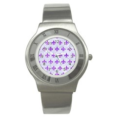 Royal1 White Marble & Purple Watercolor Stainless Steel Watch