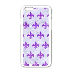 Royal1 White Marble & Purple Watercolor Apple Iphone 6/6s White Enamel Case by trendistuff
