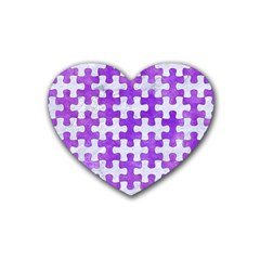 Puzzle1 White Marble & Purple Watercolor Rubber Coaster (heart)  by trendistuff