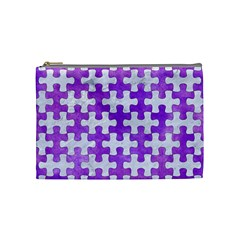 Puzzle1 White Marble & Purple Watercolor Cosmetic Bag (medium)  by trendistuff