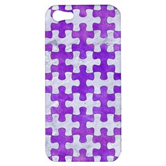 Puzzle1 White Marble & Purple Watercolor Apple Iphone 5 Hardshell Case by trendistuff