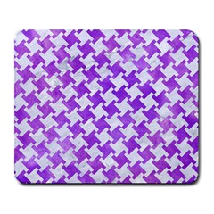 Houndstooth2 White Marble & Purple Watercolor Large Mousepads by trendistuff