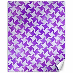 Houndstooth2 White Marble & Purple Watercolor Canvas 16  X 20   by trendistuff