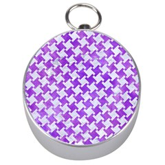 Houndstooth2 White Marble & Purple Watercolor Silver Compasses by trendistuff