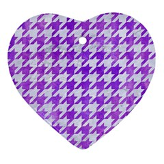 Houndstooth1 White Marble & Purple Watercolor Ornament (heart) by trendistuff