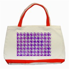 Houndstooth1 White Marble & Purple Watercolor Classic Tote Bag (red) by trendistuff