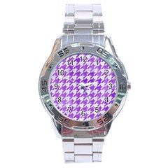 Houndstooth1 White Marble & Purple Watercolor Stainless Steel Analogue Watch by trendistuff