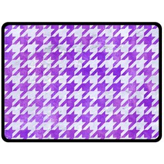 Houndstooth1 White Marble & Purple Watercolor Double Sided Fleece Blanket (large)  by trendistuff