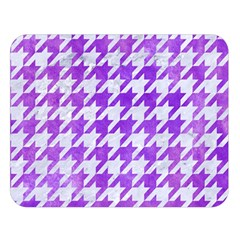 Houndstooth1 White Marble & Purple Watercolor Double Sided Flano Blanket (large)  by trendistuff