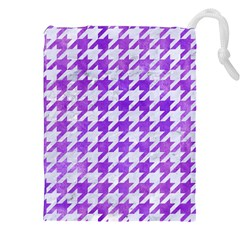 Houndstooth1 White Marble & Purple Watercolor Drawstring Pouches (xxl) by trendistuff