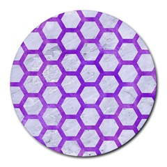 Hexagon2 White Marble & Purple Watercolor (r) Round Mousepads by trendistuff