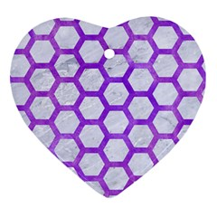 Hexagon2 White Marble & Purple Watercolor (r) Ornament (heart) by trendistuff