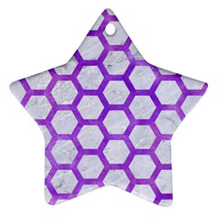 Hexagon2 White Marble & Purple Watercolor (r) Star Ornament (two Sides) by trendistuff