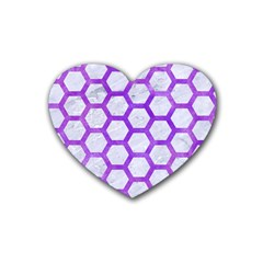 Hexagon2 White Marble & Purple Watercolor (r) Rubber Coaster (heart)  by trendistuff