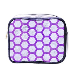 Hexagon2 White Marble & Purple Watercolor (r) Mini Toiletries Bags by trendistuff